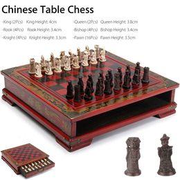jogos de mesa de natal Desconto 32 Pçs / set Xadrez De Mesa De Madeira Chinês Xadrez Resina Chessman Presentes de Aniversário de Natal Presentes Premium Entretenimento Jogo de Tabuleiro