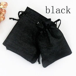 sacchetto di juta nero Sconti Borsa di iuta nera scura 10 pezzi / lotto 13x18 cm borse per lo stoccaggio borsa regalo di nozze coulisse sacchi di tela borse di perline di caramelle