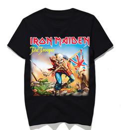 T-shirt de punk rock on-line-Banda Iron Maiden Música T-shirt dos homens do metal pesado da rocha camiseta Tops Vintage Punk Streetwear Moda Tees 2020Fashion rock t-shirt