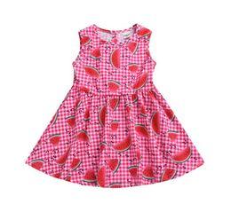 Canada ins vente chaude bébé filles 100% coton robe petite fille pastèque plaid vérifier boutique robes nouveau design vêtements cheap watermelon dress baby girls Offre
