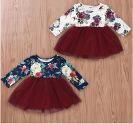 2019 anos vestido de modelo bebê bebê Luva longa do bebê Rose Imprimir Vestido Floral Girl Impressão Saia roupa dos miúdos One Piece ZHT 334