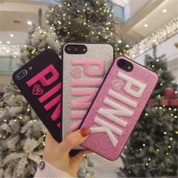 telefon glitter Rabatt ROSA Fall-Rosa-Abdeckungs-Fall für iPhone XS maximales iPhone XR 8 7 plus Stickerei-Liebes-Rosa-Telefon-Fall des Glitter-3D für Samsung S9 S8 plus OPP-Tasche