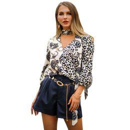 Tierdruck fliege online-MYTL-Women Fashion Vintage Leopardenmuster Fliege Bluse Tier Muster Patchwork V-ausschnitt Lose Beiläufige Hemden Chic Tops