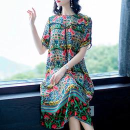 Vestidos midi de seda online-Azterumi Nuevo estilo bohemio con estampado floral de seda Midi vestido para mujer Casual manga corta suelta vestidos de una línea Vestidos Feminina