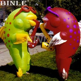 Trajes de mascote do oceano on-line-Walking inflatable clown fish costume adults funny mascot costume for sea ocean Event festival parada decoration
