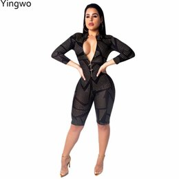 ea2290546a Printed Fashion Women Zip Me Up Bodycon Romper Hot Sexy Night Out Club Wear  Black Slim Skinny Jumpsuit Wholesale Online