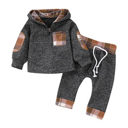 Niña con capucha online-Nueva ropa para niños Bebé manga larga con capucha a cuadros Infant Toddler Baby Boys Girls Plaid con capucha Pullover Tops Pantalones Trajes Conjunto