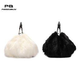 Designer Fashion clutch female Soft Faux Fur Plush luxury handbags women  bags designer Women Lady Messenger Ring Handle Bags women bags b3187dc4d8763