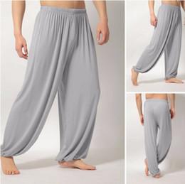 Pantaloni di yoga di esercizio bianco online-Pantaloni larghi di yoga Abbigliamento fitness Palestra Esercizio Wushu Tai Chi Kungfu per donna Pantaloni sportivi bianchi vestiti grigio
