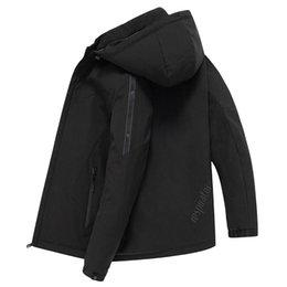 schwarze grabenmänner Rabatt Plus Größe M - XXXXL mit Kapuze smart casual Trenchcoat Männer schwarz Brief drucken Oberbekleidung 2019 Herbst Winter