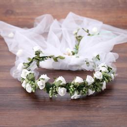 Corona di capelli bianchi online-Monili del fiore bianco Ghirlanda Ghirlanda Copricapo Velo Tiara capelli della fascia dei capelli di nozze Donne Fasce di nozze sposa accessori per capelli