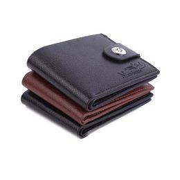 Portefeuille pour hommes de la mode Mini multifonctionnel court détenteurs du portefeuille PU anti-magnétique boucle boucle porte-monnaie en cuir carte cas ? partir de fabricateur
