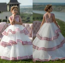 vestido rosa blanco para niño Rebajas Glitters rosa blanco flor vestidos de las muchachas para las bodas volantes faldas niños pequeños adolescentes vestidos del desfile vestido de fiesta de cumpleaños