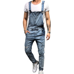 мужские джинсы Скидка Puimentiua 2019 Fashion Mens Ripped Jeans Jumpsuits Street Distressed Hole Denim Bib Overalls For Man Suspender Pants Size M-XXL