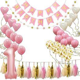 2019 simples cenários de casamento Bebê Aniversário Balões Aniversário Banner Feliz Primeiro Aniversário Decoração Do Partido Set Chapéu De Aniversário Bandeira Bandeira Topper Balões Kit