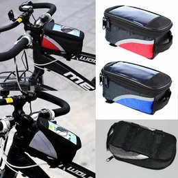 bicycle packing Promo Codes - New Style Unisex Patchwork Waterproof Mountain Bike Frame Front Bag Pannier Bicycle Mobile Waist Packs New Fashion Hot Casual