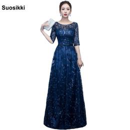 Medias mangas de vestidos formales de diseño online-Más nuevo diseño vestido de noche largo brillante media manga elegante de las mujeres vestido de fiesta formal de baile Robe De Soiree