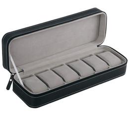 guarda lo schermo di tocco dell'affissione a cristalli liquidi Sconti 6 Slot vigilanza dei monili scatola portatile di viaggio Zipper Caso Collettore Accumulo Storage Box (nero)