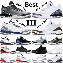 2020 zapatos para gatos Zapatillas de baloncesto Air Jordan 3 Wolf gris para hombre Fire Red Black Cat Cemento blanco Infrarrojo Deporte True blue Hombre Zapatillas de deporte US7-13 rebajas zapatos para gatos