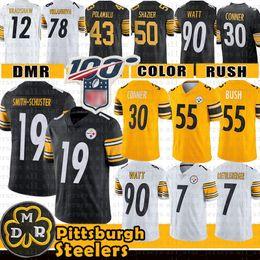 55 Devin Bush Pittsburgh 19 Maillot Steelers Juju Smith-Schuster James Conner Roethlisberger Villanueva Troy Polamalu Watt Bettis Shazier ? partir de fabricateur