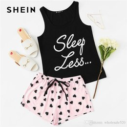 SHEIN Letter Print Top   Drawstring Waist Shorts Pajama Set Women  Sleeveless Drawstring Preppy Nightwear 2018 Casual Sleepwear c4506f924