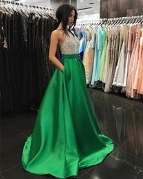 patrón del vestido de cuentas Rebajas Bling rebordear vestidos de baile con bolsillos de alta calidad vestidos de noche formales verde mate satinado cuello del partido del partido vestidos de novia