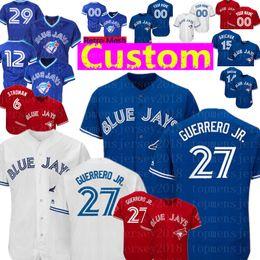 maillots 14 15 Promotion Custom Toronto 27 chandail des Blue Jays de Vladimir Guerrero Jr. 12 Roberto Alomar 29 Carter 15 Randal Grichuk 14 Smoak 42 chandails Royal Stroman