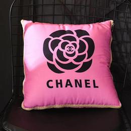 2019 sedie africane Cuscino di design fiore rosa bianco 40 * 40cm Stampa 3D Lettera Cuscino semplice Primavera Estate Autunno E inverno Cuscini