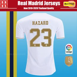 Dhl fußball trikots online-Dhl-freies Verschiffen 2019 Real Madrid Fußball Jerseys kit Home Away 18/19/20 Home MODRISCHE GEFAHR VINICIUS JR KROOS ISCO BALE Kinder Fußball Shirts