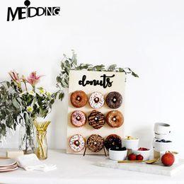 Doccia online-Parete di legno Contiene ciambella Boards stand Hanging Donuts Wedding Table decorazione degli accessori Baby Shower decorazione dei capretti la festa di compleanno