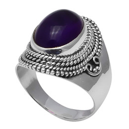 Usa 925 anelli d'argento online-NiaoZaiFei YunZaiKan Genuine Amethyst Ring 925 Sterling Silver, USA Formato: 8, 2SR0346