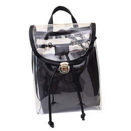 Bolsas de moda clara on-line-ABDB-Mulher 2 em 1 Limpar Moda Mochila Transparente Viagem Praia Bolsa Bolsa de Ombro