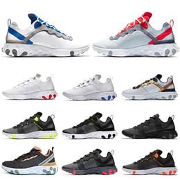 Eva tape en Ligne-Nike React Element 55 2019 chaussures de course à talons chauds pour homme, coutures soudées Bleu Rouge Or Navy Escape Pack Jeu Royal baskets formateurs pour hommes