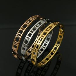 Ювелирные изделия из титановой стали узкой версии римские цифры полые защелкивающиеся пара браслетов браслеты Горячая мода из нержавеющей стали от