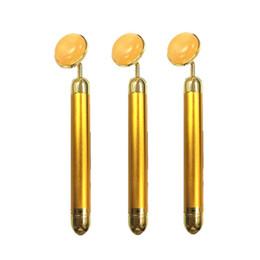 Oro electrico online-24k Jade Gold Beauty Bar Masaje eléctrico con rodillo para la elevación de la cara Adelgazante Relax Release Stress Stick para V Face Effect VVA421