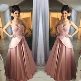 2019 elegantes vestidos de perlas de color rosa trajes de época una línea rosa perla de baile vestidos largos de satén de soirée Los plisados Peplum vestido elegante formal para los vestidos de noche de las mujeres elegantes vestidos de perlas de color rosa baratos