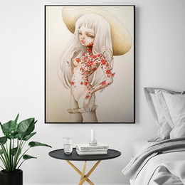 nude girls oil paints Promo Codes - The White Hair Girl by Kukula Oil Painting on Canvas Graffiti For Living Room Art Wall Picture for Living Room Poster Print Home Decoration