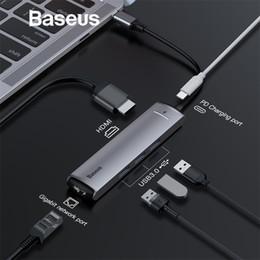 Adaptateur usb hub rj45 en Ligne-Adaptateur HUB Baseus 6in1 USB Type C vers USB 3.0 HDMI RJ45 pour Splitter HUB MacBook Pro pour Huawei Matebook Accessoire Ordinateur