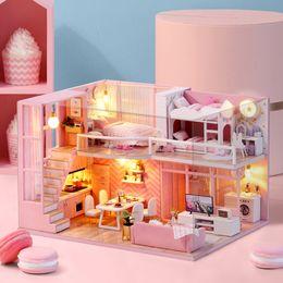2019 große plastikpuppen DIY Puppenhaus Möbel Traum Engel Miniatur Puppenhaus Spielzeug für Kinder Sylvanian Familien Haus Casinha De Boneca Lol Haus