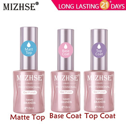 primer coating Promo Codes - MIZHSE No Wipe Top Base Coat Matte Top Transparent Gel Nail Polish UV LED Nail Primer Builder Fingernail Gel Varnish Lacquer