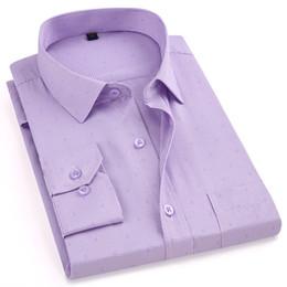 Camicie viola scozzese online-New Fashion 2019 Sping Smart Casual viola sottile Plaid uomo Camicie manica lunga non di ferro di alta qualità Marchio di svago maschile Camicie