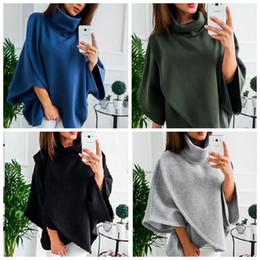 Шерстяные куртки для дам онлайн-Женщины пончо пальто плащ зима теплая свободные Batwing шерсть Мыс куртка верхняя одежда асимметричная куртка леди Одежда IIA95