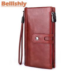carteras de teléfonos celulares de los hombres Rebajas Belllyly New Genuine Leather Men Wallet Male Cell Phone Clutch Monedero Walet Portomonee PORTFOLIO Abrazadera para bolsa de dinero Práctico