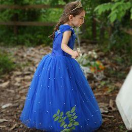 vestidos de casamento de cinderela frisada Desconto Varejo crianças designer vestido meninas pérola frisada Cinderela princesa pageant vestido de festa de casamento vestido de baile vestido de baile boutique 50% de desconto