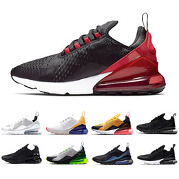 Chaussures de course tigre en Ligne-nike AIR MAX 270 SHOES airmax maxes 270s Triple Black white Tiger Running Shoes olive Training Outdoor Sports air sole cushion Mens Trainers Zapatos Sneakers