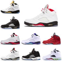 echte feuer Rabatt Nike air jordan 5 5s Echte Herren Basketball-Schuhe 5 5s Black Grape Weißer Zement Oreo Olympic Gold Medal Space Jam Blue Fire Red Sport Sneakers Größe 7-13