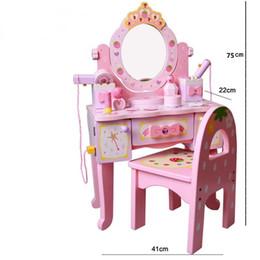 Fragola di legno online-Prodotti originali New Strawberry Dresser Plus Chair Set Girl After Home Princess Makeup Giocattoli di legno