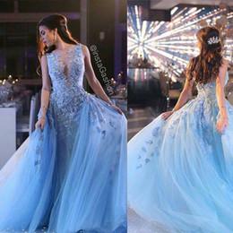 2019 porter sur la robe Bleu ciel 3D Floral Frozen sur jupe robes de bal Dubaï style arabe luxe robes faites à la main des robes de soirée parti Ziad Nakad 1102 promotion porter sur la robe