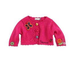 Hacer ropa de bebé niña flores online-Z Marca Bebé Niñas Niñas Hecho a mano mariposa caracol flor cardigan suéter abrigo Marca de manga larga suéter puente otoño ropa para niños