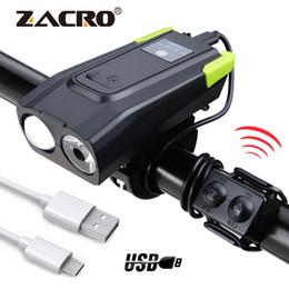 luci ciclo ricaricabili Sconti Faro astuto ricaricabile USB della luce anteriore della bicicletta di induzione 4000mAh con il ciclo della lampada della bici LED del corno 800 lumen